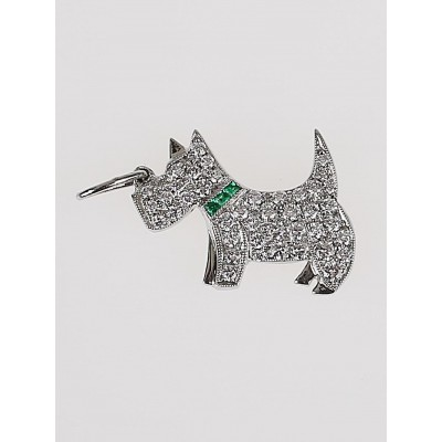 Tiffany & Co. Platinum Diamond and Emerald Tsavaorite Dog Charm