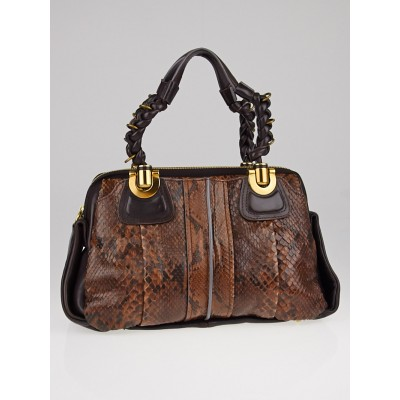 Chloe Brown Python Small Heloise Bag