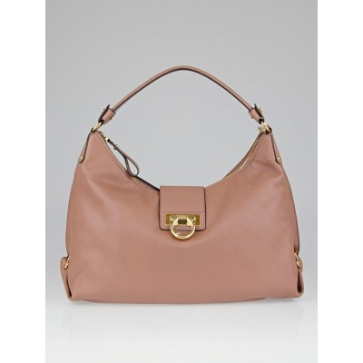 Salvatore Ferragamo Nocturne Rose Calf Leather Fanisa Hobo Bag