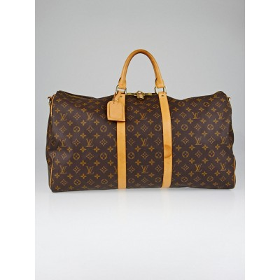 Louis Vuitton Monogram Canvas Keepall Bandouliere 55 Bag w/o Strap