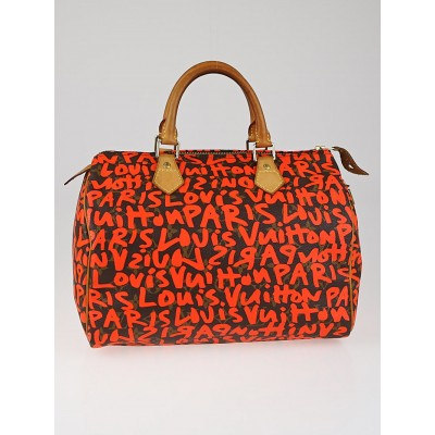 Louis Vuitton Limited Edition Orange Graffiti Stephen Sprouse Speedy 30 Bag