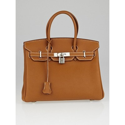 Hermes 30cm Gold Togo Leather Palladium Plated Birkin Bag