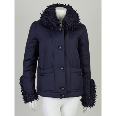 Chanel Navy Blue Polyester Blend Down Ruffle Puffer Jacket Size 4/38