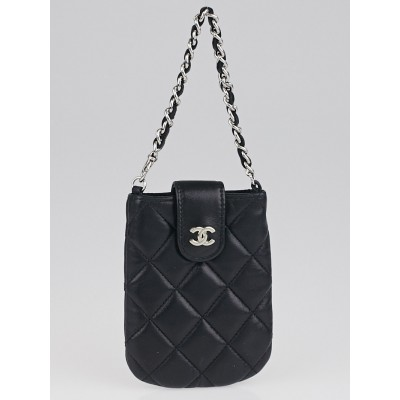 Chanel Black Quilted Lambskin Leather Cell Phone Case