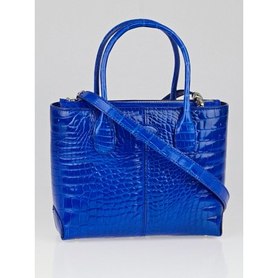 Tod's Blue Alligator Classic Mini D Bag