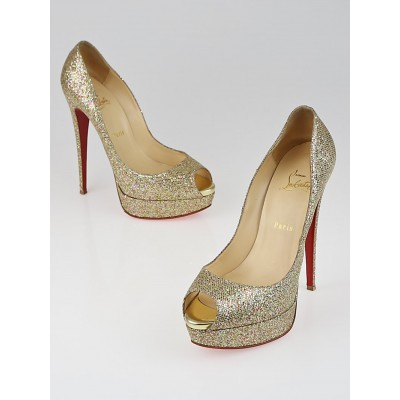 Christian Louboutin Gold/Multicolor Glitter York Lady Peep 150 Pumps Size 10/40.5