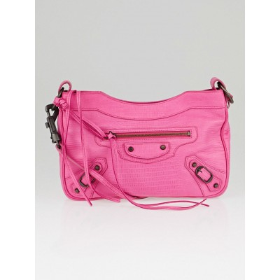 Balenciaga Pink Lizard Embossed Lambskin Leather Hip Bag
