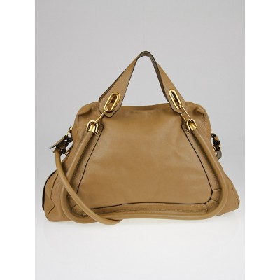Chloe Beige Calfskin Leather Large Paraty Bag