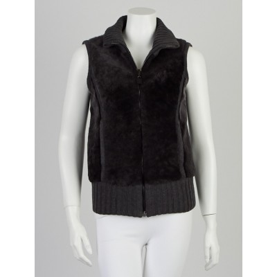 Chanel Grey Lamb Fur/Wool Reversible Vest Size 2/36