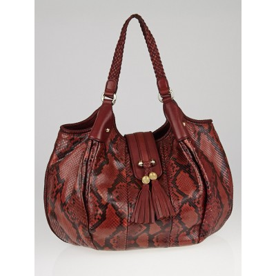 Gucci Red/Black Python Marrakech Large Hobo Bag