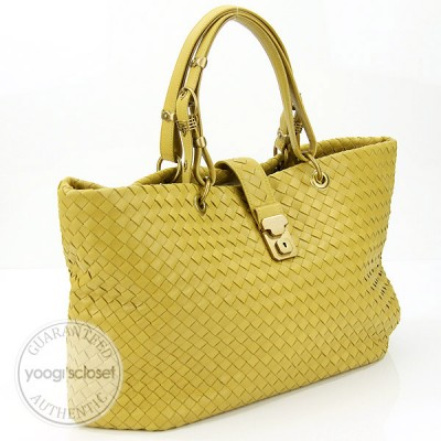 Bottega Veneta Moutarde Woven Leather Large Capri Tote Bag