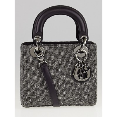 Christian Dior Gris Moyen Tweed Micro Lady Dior Bag