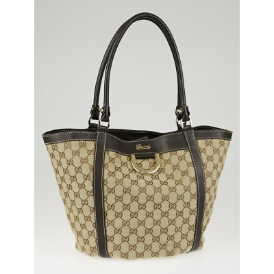 Gucci Beige/Ebony GG Canvas D Gold D-Ring Medium Tote Bag