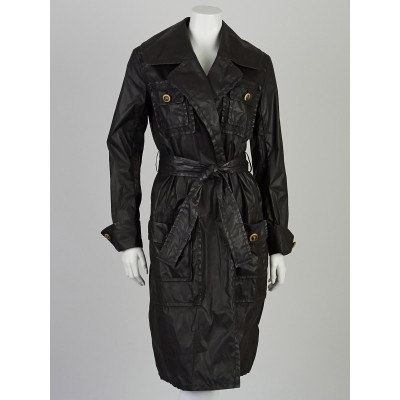Chanel Black Waxed Nylon Trench Coat Size 4/36