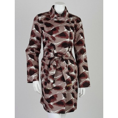 Gucci Brown Printed Cotton Trench Coat Size 8/42