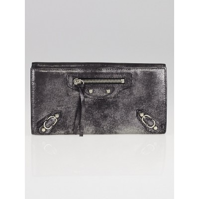 Balenciaga Black Metallic Leather Milky Way Papier Continental Wallet