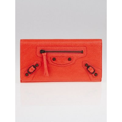 Balenciaga Rose Corail Lambskin Leather Classic Money Wallet