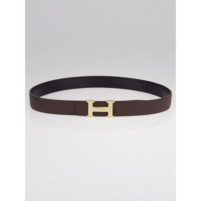 Hermes 32mm Black Box/Ebene Clemence Leather Permabrass Constance H Belt Size 100