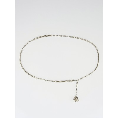 Chanel Silvertone Chain Camellia Belt