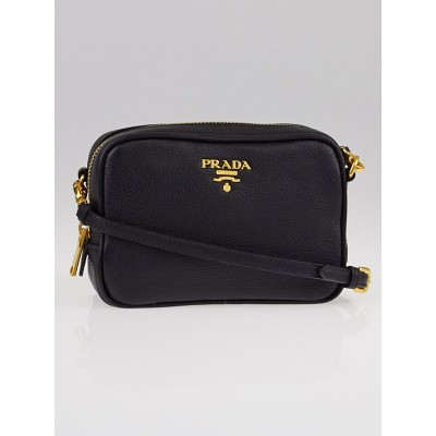 Prada Black Vitello Grain Leather Mini Zip-Top Crossbody Bag 1N1674