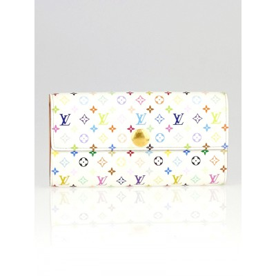 Louis Vuitton White Monogram Multicolore Sarah Wallet
