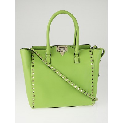 Valentino Lime Green Leather Rockstud Double Handle Tote Bag