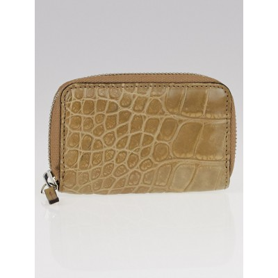 Gucci Taupe Crocodile Zip Card Case