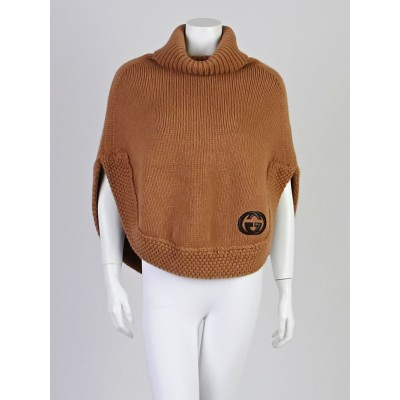 Gucci Beige Camel Hair Turtleneck Poncho Sweater Size XS