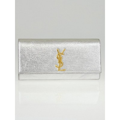 Saint Laurent Argent Calfskin Leather Monogram Clutch Bag