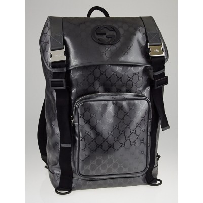 Gucci Silver GG Coated Canvas Interlocking G Supreme Backpack Bag
