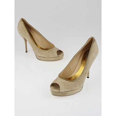 Gucci Cream Suede Chain Peep Toe Platform Pumps Size 10/40.5