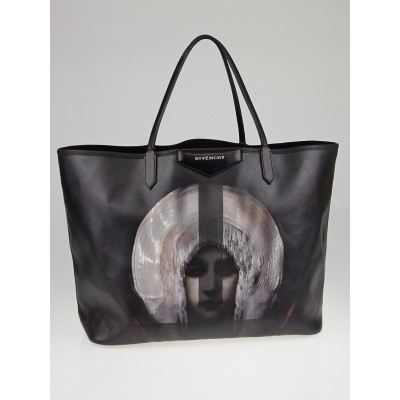 Givenchy Black Coated Canvas Madonna Antigona Large Tote Bag
