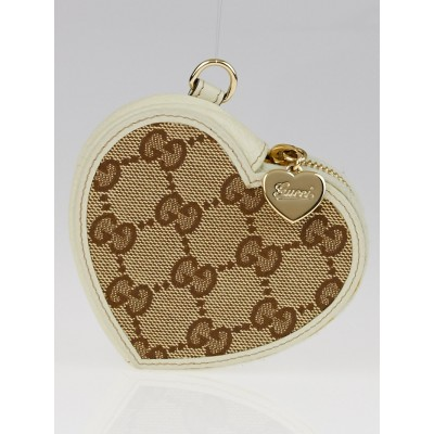 Gucci Beige/Ivory GG Canvas Heart Coin Purse