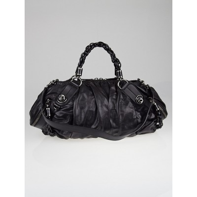 Gucci Black Leather Galaxy Medium Top Handle Bag