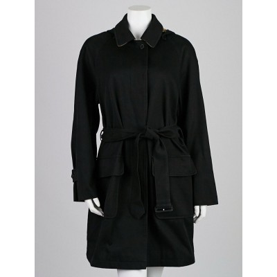 Burberry London Black Cotton Hooded Trench Coat Size L