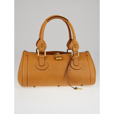 Chloe Caramel Aurore Calfskin Leather Padlock Satchel Bag