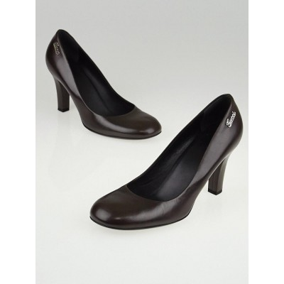 Gucci Dark Cocoa Leather Classic Pumps Size 7/37.5