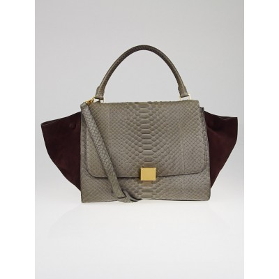 Celine Grey/Bordeaux Python and Suede Small Trapeze Bag