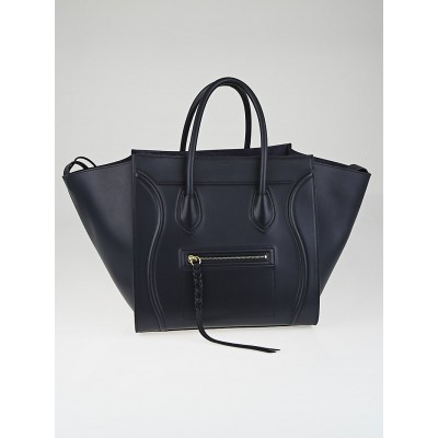 Celine Navy Blue Nappa Calfskin Leather Small Phantom Luggage Tote Bag
