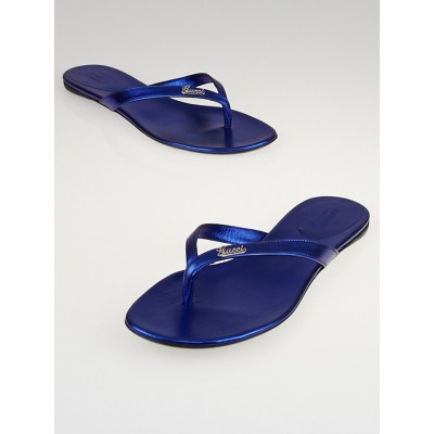 Gucci Blue Leather Script Flat Thong Sandals Size 8.5/39