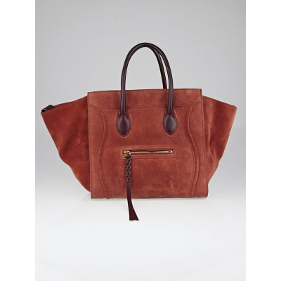 Celine Rust Suede/Leather Small Phantom Luggage Tote Bag