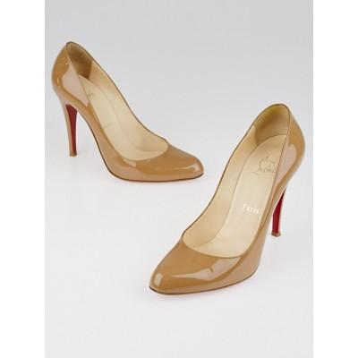 Christian Louboutin Camel Patent Leather Decollete 868 100 Size 7.5/38