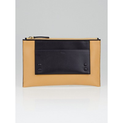 Chloe Sand Shell and Black Leather Alice Clutch Bag