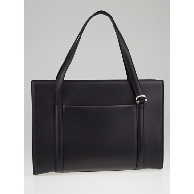 Cartier Black Calfskin Leather Cabochon Briefcase Tote Bag