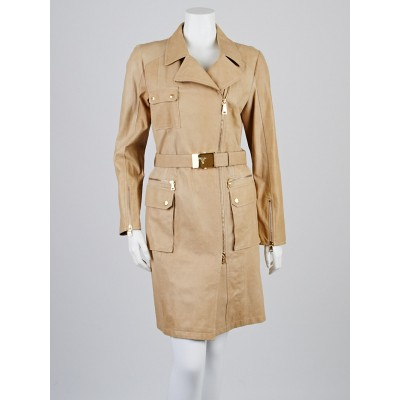 Prada Sabbia Leather Soprabito Trench Coat Size 10/44