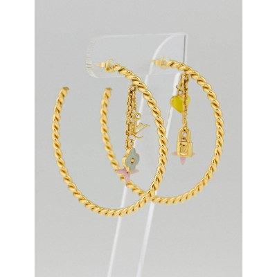 Louis Vuitton Gold/Multicolore Monogram Sweet Large Hoop Earrings