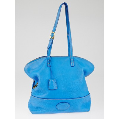 Fendi True Blue Selleria Leather 2Bag Tote Bag