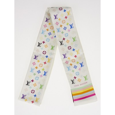 Louis Vuitton White Monogram Multicolore Silk Bandeau Scarf