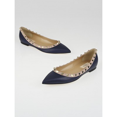 Valentino Navy Blue Leather Rockstud Ballet Flats Size 6.5/37