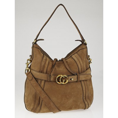 Gucci Beige Suede 'GG Running' Medium Double G Hobo Bag